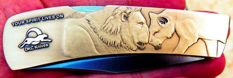 DKC-1100-B Cecil The Lion Brass Folding Pocket Knife  440c Stainless Blade