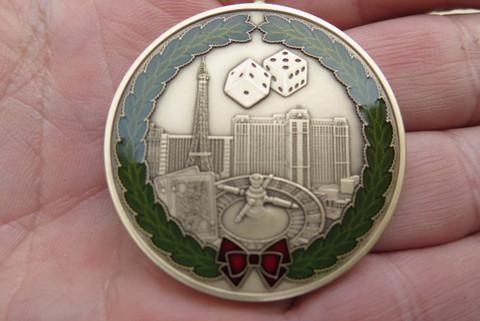 "DKC-1601-B Las Vegas Christmas Ornament Custom Hand Engraved Minted In Antique Brass 1.75"" Diameter 1.8 oz  MINT SERIES"