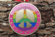 """DKC-1602-B S ALL YOU NEED IS LOVE Christmas Ornament Custom Hand Engraved Minted In Antique Brass 1.75"""" Diameter 1.8 oz  MINT SERIES"""