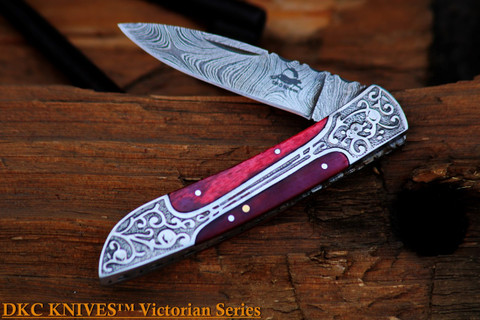 DKC-37-RH VICTORIAN Red Horn Damascus Folding Pocket Knife Red Horn