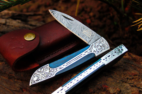 "DKC-37-BLH VICTORIAN Damascus Folding Pocket Knife Blue Horn 7.75"" Long, 4.5"" Folded 3"" Blade 4.8oz DKC Knives Hand Made Incredible Look and Feel"
