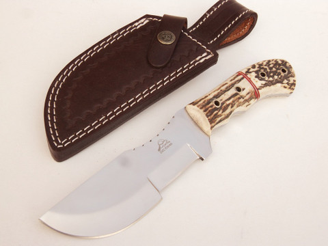"DKC-708-440C STAG TRACKER Stag Horn Stainless Steel Survival Prepper Hunting Knife 10"" Long, 5"" Blade 11ozl DKC Knives TM Very Solid Knife"