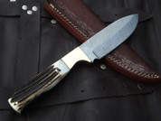 "DKC-724 STAG PRINCE Damascus Stag Horn Bowie Hunting Handmade Knife Fixed Blade 10 oz 9.5"" Long 4.5"" Blade"
