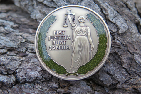 "DKC-4001-B Lawyer Judge Legal Gift Sebano Coin FIAT JUSTITIA RUAT CAELUM Custom Hand Engraved Minted In Antique Brass 1.75"" Diameter 1.8 oz DKC MINT SERIES"