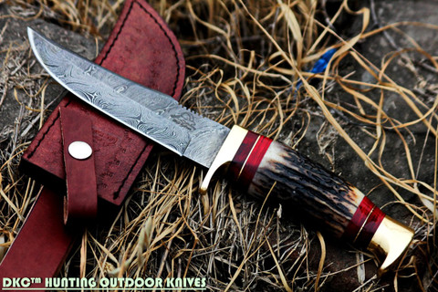 """DKC-717 BALD EAGLE Damascus Bowie Hunting Handmade Knife Stag Horn Fixed Blade 9.8oz 10 """" Long 5"""" Blade"""