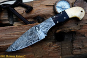 "DKC-189 MOUNTAIN ELK Damascus Steel Knife Hunting Knife Hand Engraved 8"" Long, 4"" Blade 8 oz DKC Knives"