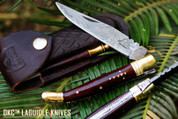 "DKC-970-SW-DS Snake Eyes Laguiole Damascus Steel Folding Pocket Knife Snake Woodl 4.75 "" Folded 8.5"" Open 3.6oz 4 "" Blade"