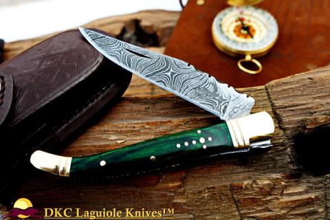 """DKC-313-GR Green Elf Laguiole Damascus Steel Folding Pocket Knife 4"""" Folded 7.25"""" Open 3oz 3.5 """" Blade (DKC-313)"""