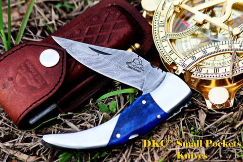 "DKC-110 BLUE SWAGGER 7.5"" Long, 4"" Folded 3.5"" Blade 6.7 oz Damascus Folding Pocket Knife"