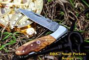 "DKC-58-LJ-OW  LITTLE JAY Series OLIVE WOOD HANDLE Damascus Folding Pocket Knife 4"" Folded 7"" Approx 3.25""Blade a Long 4.7oz oz"