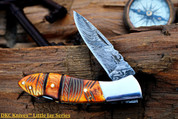 "DKC-58-LJ-EH-DS LITTLE JAY Series  CHIEF  HANDLE Damascus Folding Pocket Knife 4"" Folded 7"" Approx 3.25""Blade a Long 4.7oz oz"