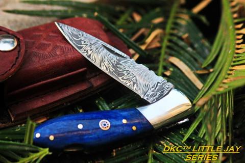 "DKC-58-LJ-BL LITTLE JAY Series BLUE BONE  HANDLE Damascus Folding Pocket Knife 4"" Folded 7"" Approx 3.25""Blade a Long 4.7oz oz"