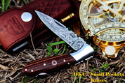 "DKC-58-LJ-JS LITTLE JAY Series JAPANESE SHEATH MICARTA  HANDLE Damascus Folding Pocket Knife 4"" Folded 7"" Approx 3.25""Blade a Long 4.7oz oz"