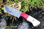 "DKC-187 RED INDIAN Damascus Steel Bowie Skinner Hunting Handmade Knife Fixed Blade 7.5 oz 8"" Long 4."" Blade DKC KNIVES"