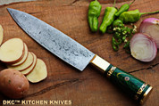 "DKC-533-DS-GR Grand Master Chef Knife Damascus Steel DKC Knives 16.8 oz 12"" Long 7.5"" Blade (Green)"