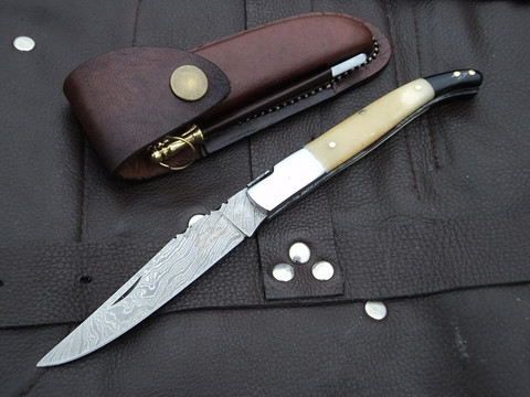 "DKC-774 SNOW LEOPARD Laguiole Damascus Steel Folding Pocket Knife Black-White Bone 3 oz 7.5"" long 4"" Blade (DKC-774)"