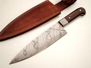 "DKC-830 Indigo Chef Knife Damascus Steel Knife DKC Knives (TM) 12 oz 8"" Blade 12.75"" Overall"