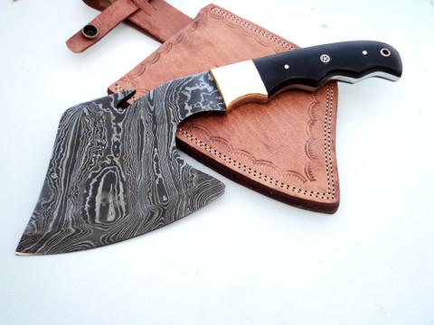 """DKC-853 Black Ice Axe Damascus Steel DKC Knives (TM) 23 oz 11.5"""" Long 5"""" Blade"""