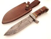 "DKC-813 ELLIS Bowie Damascus Steel Knife 11"" Overall 6.5"" Blade 14 oz (DKC-813)  DKC Knives"