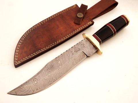 "DKC-816 BLACK BANDIT Bowie Damascus Steel Knife 13"" Overall 8"" Blade 15 oz  DKC Knives"