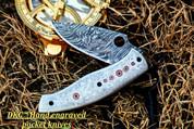 "DKC-619 TEMPEST Damascus Steel Knife Folding Pocket Knife Hand Engraved 8"" Long, 3.5"" Blade 4.5"" Closed 12 oz DKC Knives See similar DKC Knives Forest Dreams & Tempest LUXO Series"
