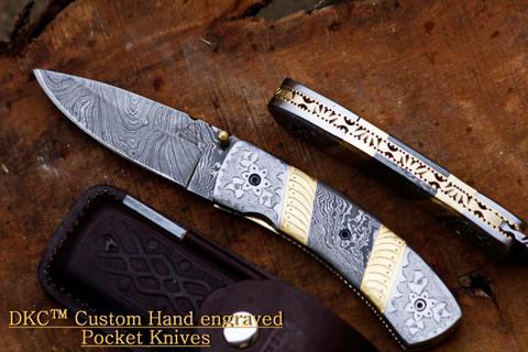 "DKC-531 JAGUAR Damascus Steel 3.5"" Blade 4.5' Folded 8"" Open 10.8 oz Pocket Folding Knife (DKC-531)"