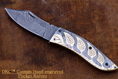"DKC-535 FALLEN LEAF Damascus Steel 3.5"" Blade 3.5' Folded 7.5"" Open 9 oz Pocket Folding Knife (DKC-535)"