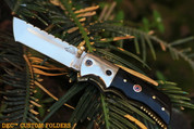 "DKC-27-440c  WIZARD 7"" Long, 4"" Folded 6oz Stainless Steel Tanto Folding Pocket Hunting Knife Black Bone Medallion Inlay DKC KNIVES TM Hand Made Artisan Quality"