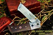"""DKC-27-BM-DS WIZARD Damascus Steel Tanto Folding Pocket Knife 7"""" Long, 4"""" Folded 6oz (DKC-27-BM-DS)"""