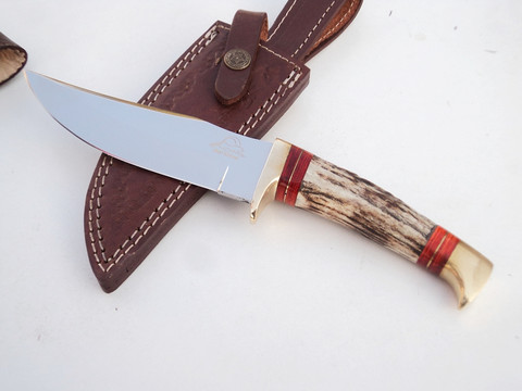 "DKC-717-440c BALD EAGLE 440 c Stainless Steel Bowie Hunting Handmade Knife Stag Horn Fixed Blade 9.8oz 10 "" Long 5"" Blade DKC KNIVES (DKC-717-440c)"