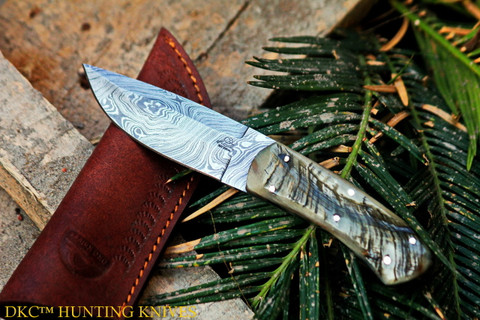 "DKC-181 STAG JACK Damascus Steel Hunting Knife Stag Horn Handle 7oz 8"" Long 4"" Blade (DKC-181)"