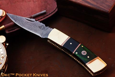 """DKC-126 MAGGIE Damascus Steel 8 oz 3.5"""" Blade 7.75"""" Overall Folding Pocket Hunting Knife DKC KNIVES TM"""