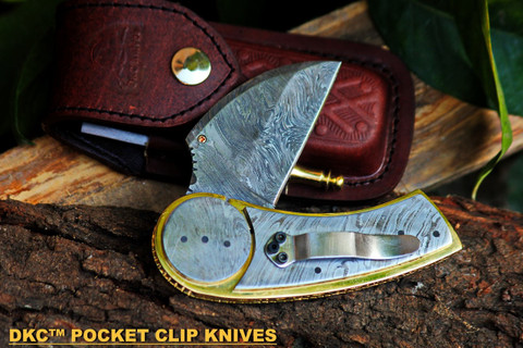 "DKC-621-PC Wheeler Damascus Pocket Folding Knife 10.5 oz 7"" Long 3.5"" Blade (Pocket Clip Damascus) (DKC-161-PC)"