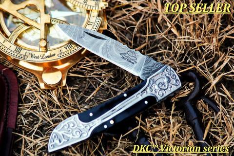 "DKC-37-BH VICTORIAN Damascus Folding Pocket Knife Buffalo Horn 7.75"" Long, 4.5"" Folded 3"" Blade 4.8oz DKC Knives (DKC-37-BH)"