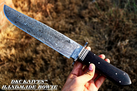 "DKC-191-WW DARK EYES Wenge Wood Damascus Steel Bowie Hunting Knife 17"" Long 11""Blade 26 oz"