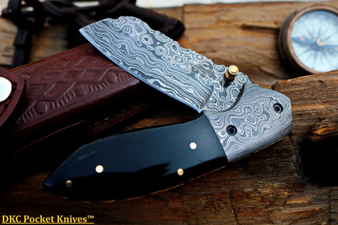 "DKC-811-DS EXCALIBUR Damascus Steel Folding Pocket Knife 4.5"" Folded 7.5"" Open 3.5 "" Blade 8oz High Class Black Bone Feels Great In Your Hand And Pocket Damascus Bolster DKC Knives"