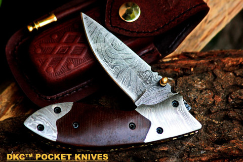 "DKC-154-B FANG Brown Damascus Steel Hand Made Pocket Folding Knife DKC Knives (TM) 9oz 4.5"" Closed 7"" Open 3.5"" Blade"
