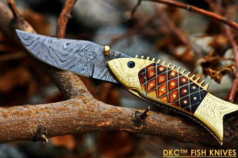 DKC-594 SUN FISH Mouth Closed Bass Trout Fishing Pocket Folding Damascus Hunting Knife Brass & Bone (DKC-594)