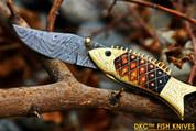 DKC-594 SUN FISH Mouth Closed Bass Trout Fishing Pocket Folding Damascus Hunting Knife Brass & Bone (DKC-594)