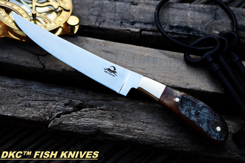 """DKC-952-440c Rusic Stag Fish Filet Knife 440c Stainless Steel Blade 7.4oz 6.75"""" Blade 11"""" Overall DKC KNIVES TM"""