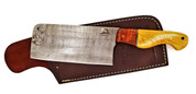 "DKC-1100-CL CLEAVER YAKIMA Series Chef Knife Damascus Steel Blade 19oz 7"" Blade 3"" High 12"" Long Overall DKC KNIVES TM"