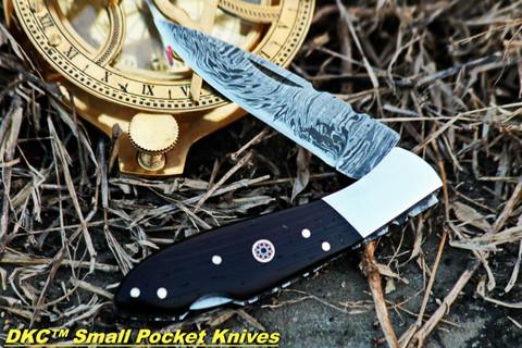 """DKC-58-WW Wenge Wood LITTLE JAY Damascus Folding Pocket Knife Buffalo Horn Handle 4"""" Folded 7"""" Long 4.7oz oz"""