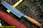 "DKC-534-OW MUSAKA CHEF  Knife Damascus Olive Wood Handle Blade 7"" Blade 11.75"" Overall 7.4 oz"