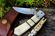 """DKC-92 BANDITO Damascus Steel Folding Pocket Knife 4.5"""" Folded 8"""" Open 6.7oz 3"""" Blade High Class Looks Incredible Feels Great In Your Hand And Pocket Very Solid Knife DKC Knives"""