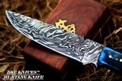 "DKC-521 BLUE MOON Damascus Hunting Handmade Knife Fixed Blade 7 oz 9"" Long"