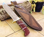 "DKC-1101 JUNGLE SCOUT Damascus Bowie Knife Blade 10"" Blade 15."" Overall 26oz ND-Series"