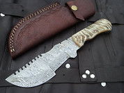 "DKC-700 RUSTIC TRACKER Damascus Survival Hunting Knife Bone Horn Damascus Steel Blade 11oz 10"" Long 5"" Blade Long DKC Knives"