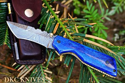 "DKC-124-ds BLUE MIAMI Damascus  Folding  Knife   6.9oz oz 4.5""Closed 3.25"" Blade 7"" Open"