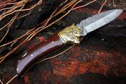 """NS DKC-528 Bear Watcher Damascus Steel Folding Pocket Knife 4.5"""" Folded 8"""" Long 3"""" Blade 7 oz High Class Hand Made DKC Knives"""