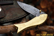 "DKC-597 BRASS MAMA FISH Bass Trout Fishing Pocket Folding Damascus Hunting Knife Brass & Bone Folded 9.5oz 4.5"" Closed 7.5"" Open 3.5"" Blade DKC Knives FISHANA SERIES"